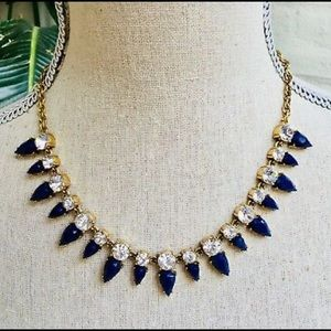 J Crew Navy and Clear Crystal Necklace